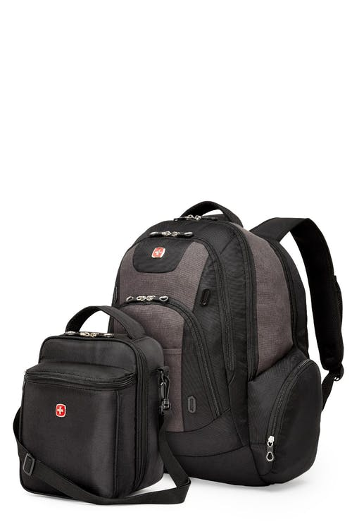Swissgear 2602 17-inch Side Load Computer Backpack and Fully Insulated Lunchbox Combo - Grey/Black