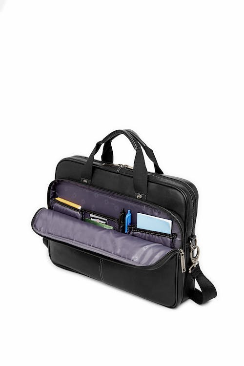 Swissgear 5122 Leather 15-inch Laptop Briefcase  Front zippered organizer compartment