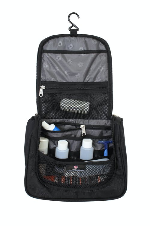 SWISSGEAR 1092 HANGING TOILETRY KIT BUILT IN HANGER HOOK, ZIPPER POCKETS AND ELASTIC STRAP SYSTEM