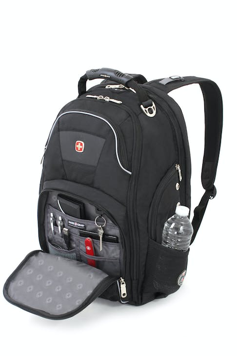 SWISSGEAR 1696 SCANSMART LAPTOP BACKPACK QUICK-ACCESS, FRONT ZIPPERED POCKET