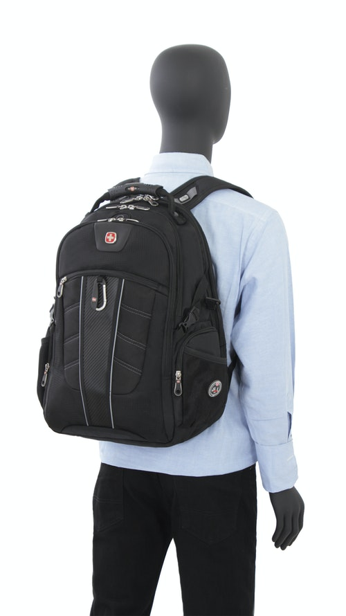 SWISSGEAR 1753 SCANSMART LAPTOP BACKPACK PADDED CONTOUR SHAPED SHOULDER STRAPS WITH MESH FABRIC