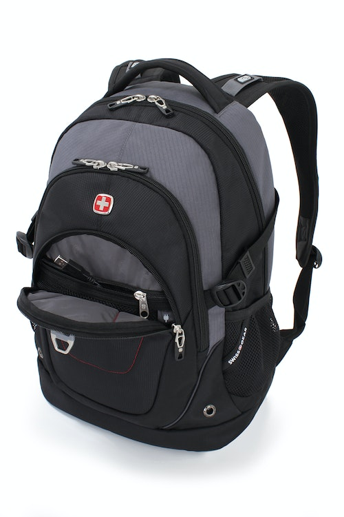 SWISSGEAR 3116 DELUXE LAPTOP BACKPACK QUICK-ACCESS, FRONT ZIPPERED COMPARTMENT WITH INTEGRATED CORD POCKET