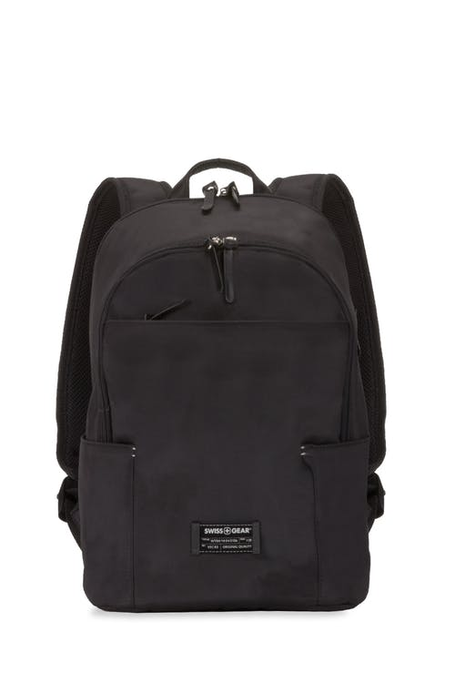 Swissgear 7677 Laptop Backpack Leather details and Signature SWISSGEAR logo lining