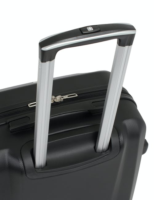 Swissgear 6072 Hardside Spinner Luggage 3pc Set Aluminum, push-button locking telescopic handle