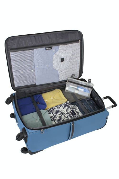 """SWISSGEAR 6110 28"""" Expandable Liteweight Spinner Luggage ADJUSTABLE CLOTHING TIE-DOWN STRAPS AND A REMOVABLE ZIPPERED WET BAG"""