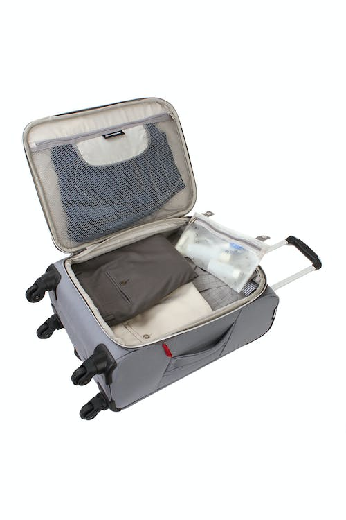 "SWISSGEAR 6133 20"" LITEWEIGHT SPINNER LUGGAGE ADJUSTABLE CLOTHING TIE-DOWN STRAPS AND REMOVABLE ZIPPERED WET POUCH"