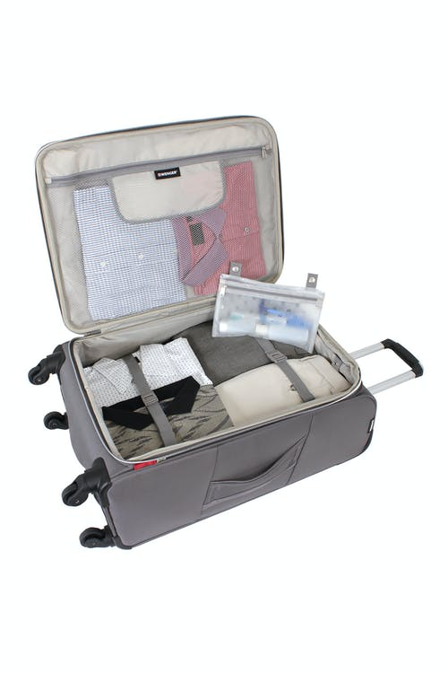 """SWISSGEAR 6133 24"""" LITEWEIGHT SPINNER LUGGAGE ADJUSTABLE CLOTHING TIE-DOWN STRAPS AND REMOVABLE ZIPPERED WET POUCH"""