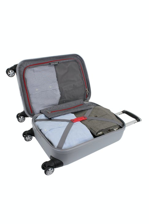 "SWISSGEAR 6151 20"" DELUXE HARDSIDE SPINNER LUGGAGE FULLY LINED INTERIOR WITH TIE-DOWN STRAP"