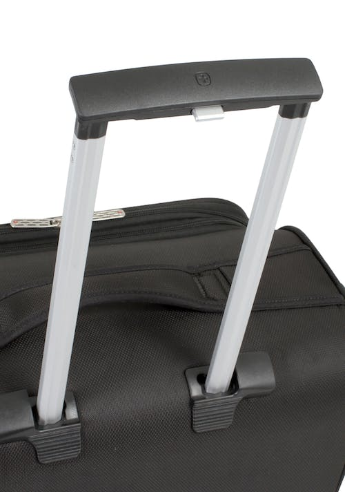 "SWISSGEAR 6165 20"" LITEWEIGHT CARRY-ON SPINNER LUGGAGE AIRCRAFT ALUMINUM, PUSH BUTTON LOCKING TELESCOPIC HANDLE"
