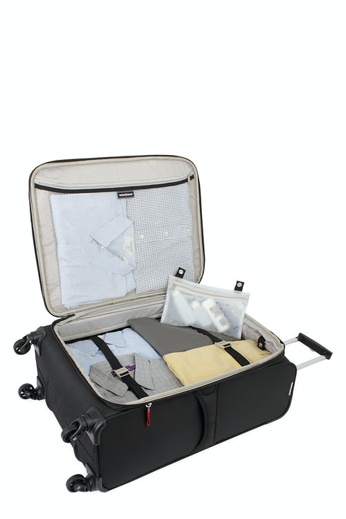 "SWISSGEAR 6165 24.5"" EXPANDABLE LITEWEIGHT SPINNER LUGGAGE LARGE INTERIOR ZIPPERED MESH POCKET"