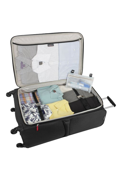 "SWISSGEAR 6165 28"" EXPANDABLE LITEWEIGHT SPINNER LUGGAGE LARGE INTERIOR ZIPPERED MESH POCKET"