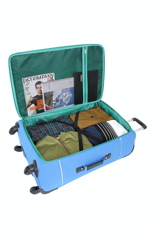 "SWISSGEAR 6186 28"" SPINNER LUGGAGE TIE-DOWN STRAPS AND A LARGE STORAGE POCKET"