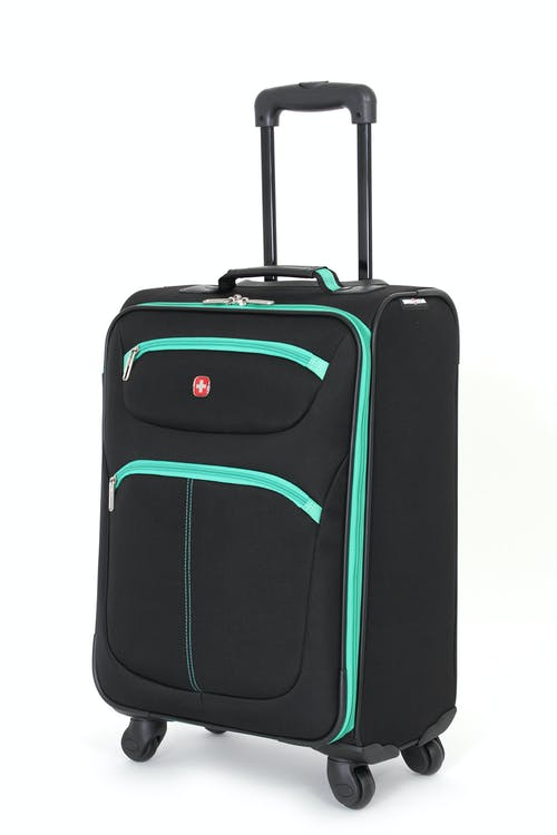 "SWISSGEAR 6190 20"" CARRY-ON SPINNER LUGGAGE IN BLACK-GREEN"