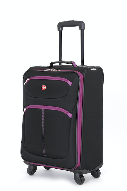 "SWISSGEAR 6190 20"" CARRY-ON SPINNER LUGGAGE IN BLACK-PURPLE"