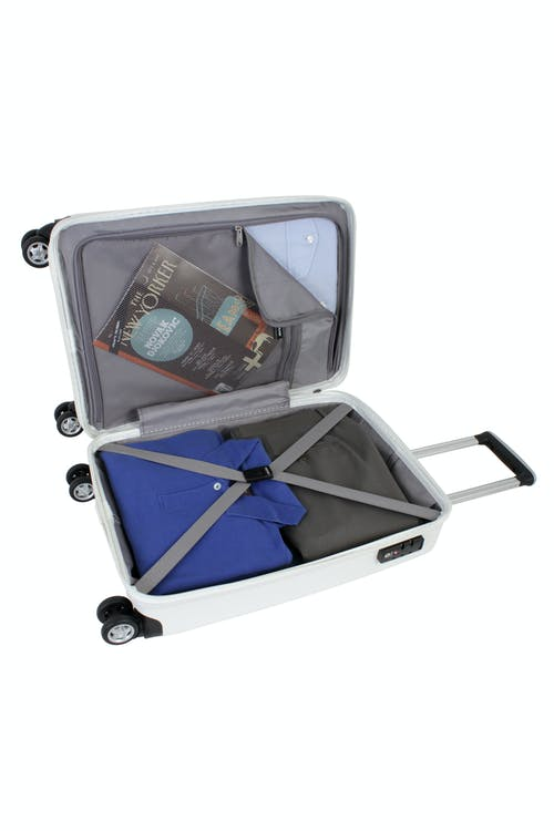 "SWISSGEAR 6191 20"" HARDSIDE CARRY-ON SPINNER LUGGAGE ZIPPERED DIVIDER PANEL AND TIE-DOWN STRAPS"