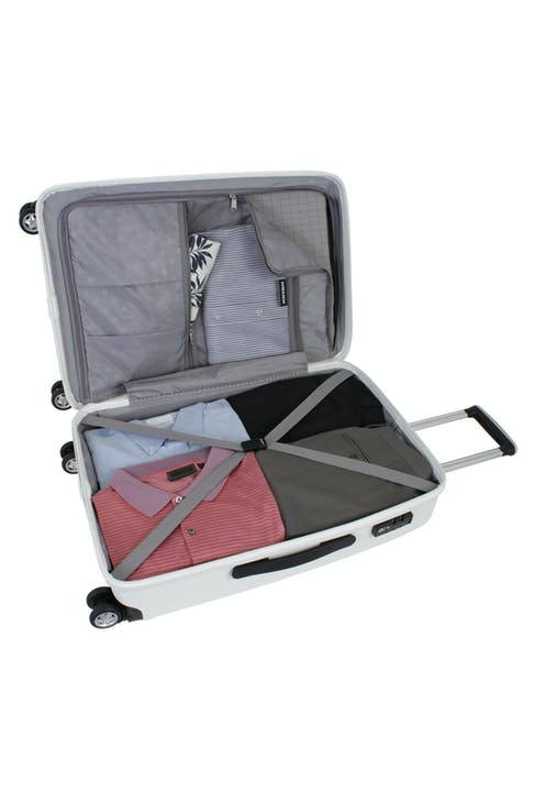"""SWISSGEAR 6191 24"""" HARDSIDE SPINNER LUGGAGE ZIPPERED DIVIDER PANEL AND TIE-DOWN STRAPS"""