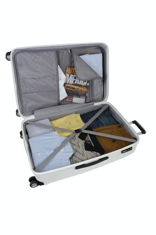 "SWISSGEAR 6191 28"" HARDSIDE SPINNER LUGGAGE ZIPPERED DIVIDER PANEL AND TIE-DOWN STRAPS"