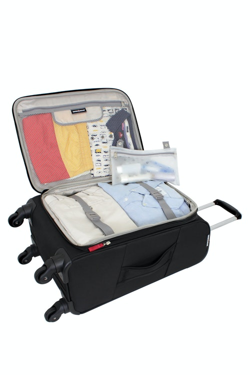 """SWISSGEAR 6208 20"""" DELUXE SPINNER BLACK LUGGAGE ADJUSTABLE CLOTHING TIE-DOWN STRAPS"""