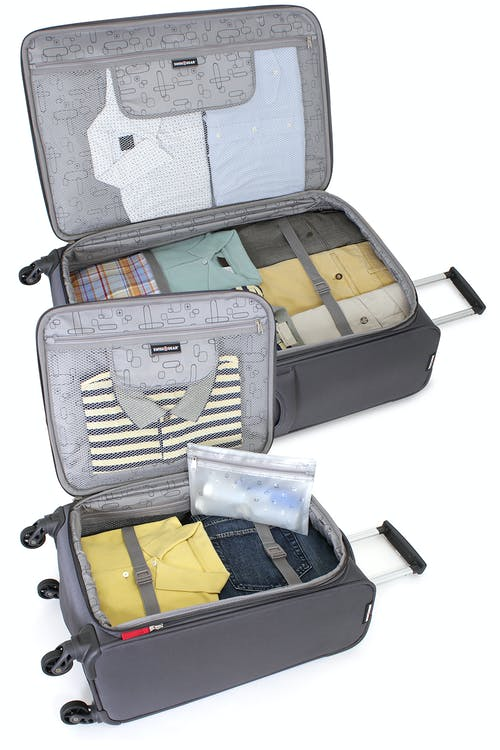 SWISSGEAR 6270 Expandable Liteweight Spinner Luggage 2pc Set Adjustable clothing tie-down straps