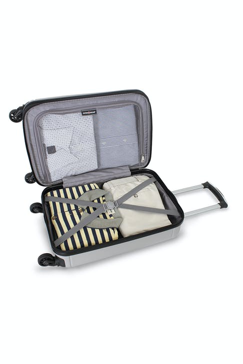 "WISSGEAR 6297 19"" HARDSIDE SPINNER LUGGAGE TIE DOWN STRAPS AND MESH ZIP COMPARTMENT"