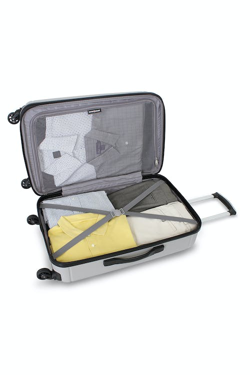 """SWISSGEAR 6297 24"""" HARDSIDE SPINNER LUGGAGE TIE DOWN STRAPS AND MESH ZIP COMPARTMENT"""