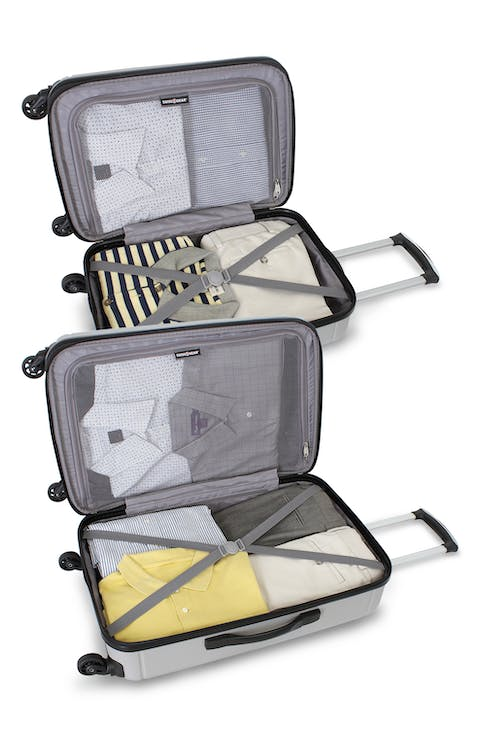 "SWISSGEAR 6297 19"" and 24"" HARDSIDE SPINNER LUGGAGE TIE DOWN STRAPS AND MESH ZIP COMPARTMENT"