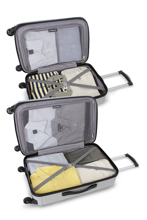 """SWISSGEAR 6297 19"""" and 24"""" HARDSIDE SPINNER LUGGAGE TIE DOWN STRAPS AND MESH ZIP COMPARTMENT"""