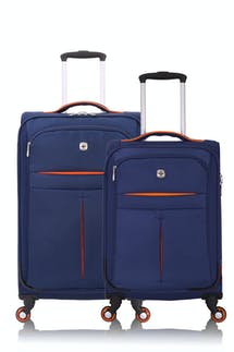 SWISSGEAR 6593 Expandable Liteweight Spinner Luggage 2pc Set - Navy/Orange