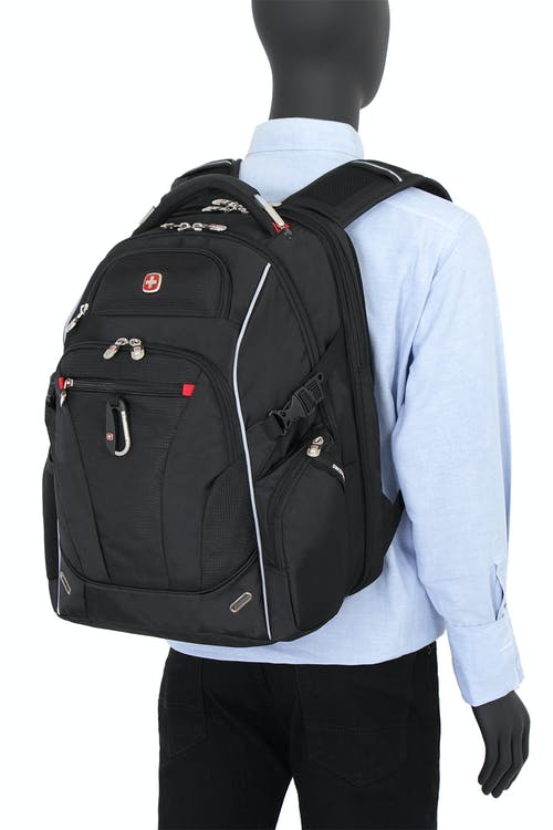 SWISSGEAR 6752 SCANSMART LAPTOP BACKPACK ERGONOMICALLY CONTOURED, PADDED SHOULDER STRAPS WITH BREATHABLE MESH FABRIC