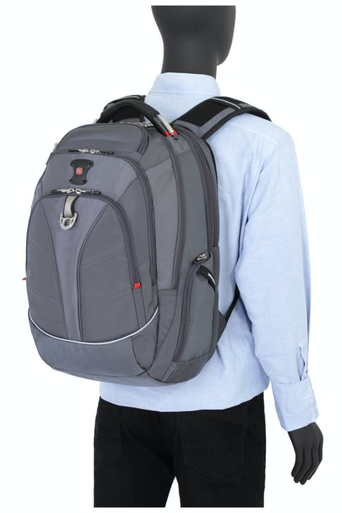 SWISSGEAR 6758 SCANSMART LAPTOP BACKPACK ERGONOMICALLY CONTOURED, PADDED SHOULDER STRAPS WITH BREATHABLE MESH FABRIC