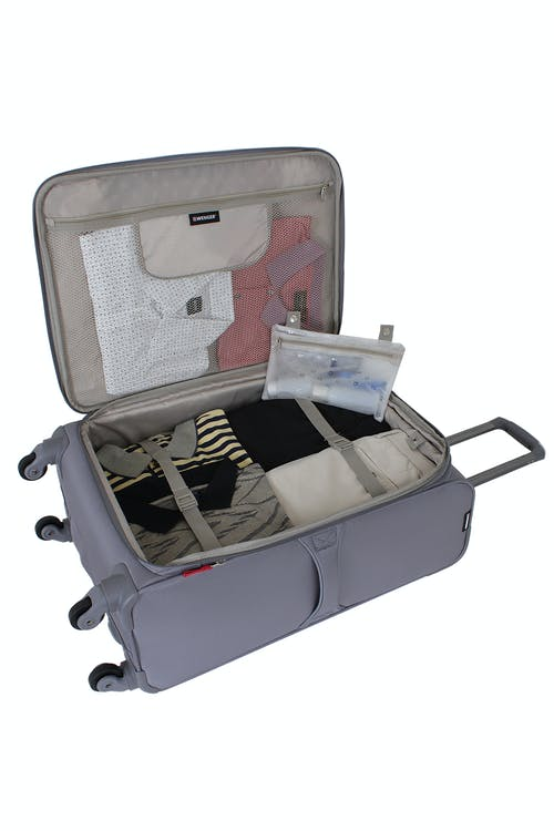 "Swissgear 7208 24.5"" Expandable Liteweight Spinner Luggage Adjustable clothing tie-down straps"