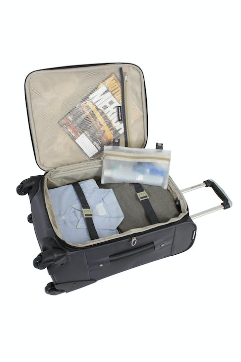 """SWISSGEAR 7297 20"""" EXPANDABLE CARRY-ON SPINNER LUGGAGE ADJUSTABLE TIE-DOWN STRAPS"""