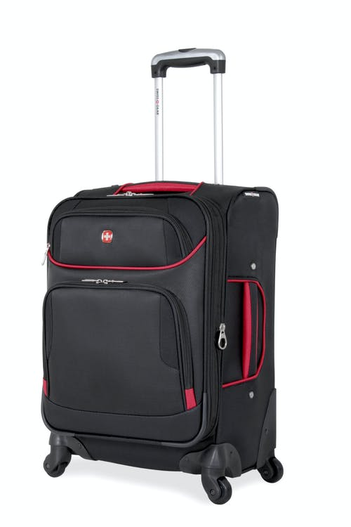 "SWISSGEAR 7317 20"" EXPANDABLE CARRY-ON SPINNER LUGGAGE - BLACK/RED"