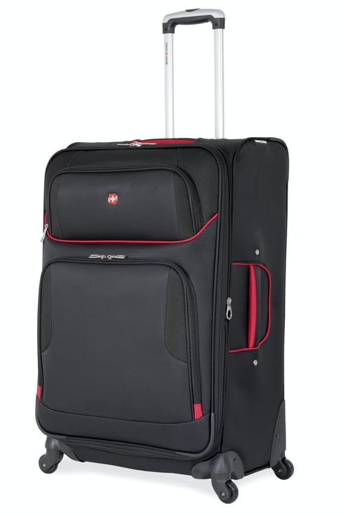 "SWISSGEAR 7317 28"" EXPANDABLE CARRY-ON SPINNER LUGGAGE - BLACK/RED"