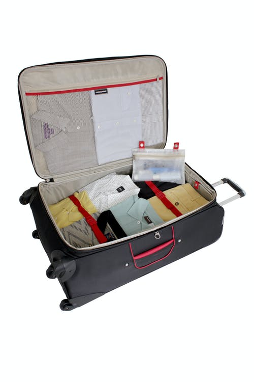 """SWISSGEAR 7317 28"""" EXPANDABLE CARRY-ON SPINNER LUGGAGE ADJUSTABLE CLOTHING TIE-DOWN STRAPS"""