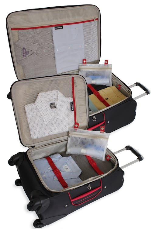 """SWISSGEAR 7317 20"""" AND 28"""" EXPANDABLE CARRY-ON SPINNER LUGGAGE INSIDE VIEW"""