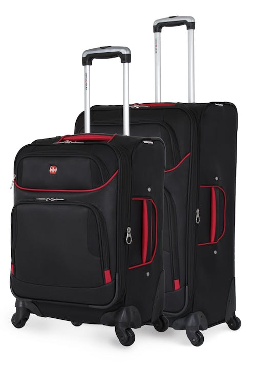 Swissgear 7317 Expandable 2pc Spinner Luggage Set - Black/Red