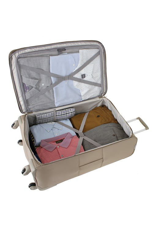 """SWISSGEAR 7353 28"""" EXPANDABLE DELUXE SPINNER KHAKI LUGGAGE - INTERIOR"""