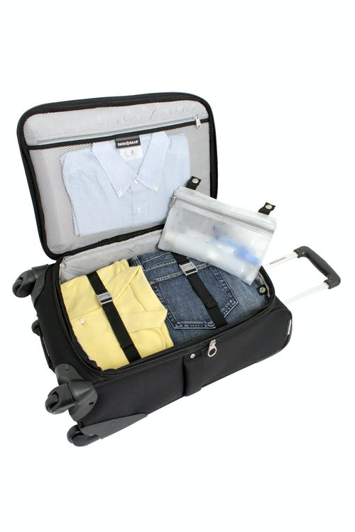 """SWISSGEAR 7377 20"""" EXPANDABLE CARRY-ON SPINNER LUGGAGE ADJUSTABLE CLOTHING TIE-DOWN STRAPS"""