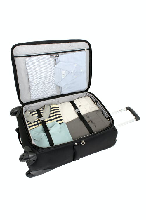 "SWISSGEAR 7377 24"" EXPANDABLE SPINNER LUGGAGE ADJUSTABLE CLOTHING TIE-DOWN STRAPS"