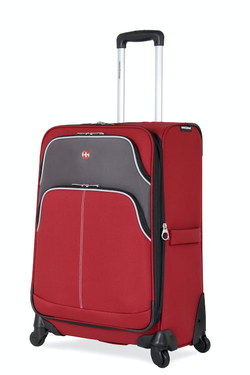 "SWISSGEAR 7377 24"" EXPANDABLE SPINNER LUGGAGE - RED/GRAY"