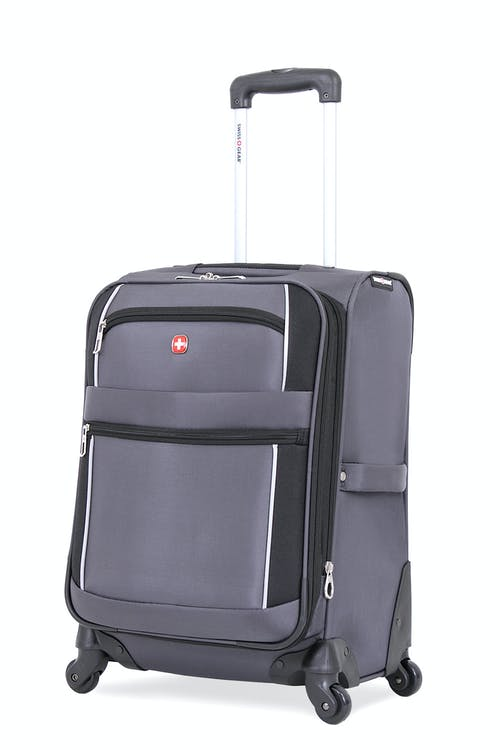 "Swissgear 7378 20"" Expandable Carry-On Spinner Luggage - Grey/Black"