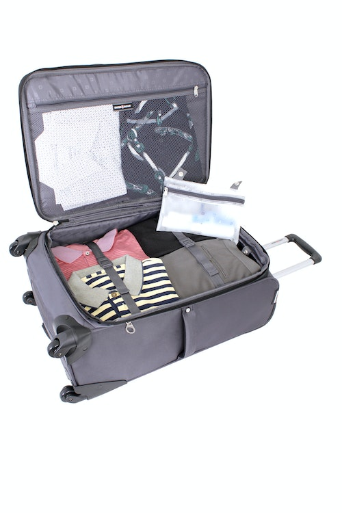 "SWISSGEAR 24"" EXPANDABLE SPINNER LUGGAGE EXPANDABLE MAIN COMPARTMENT WITH ADJUSTABLE CLOTHING TIE-DOWN STRAPS"