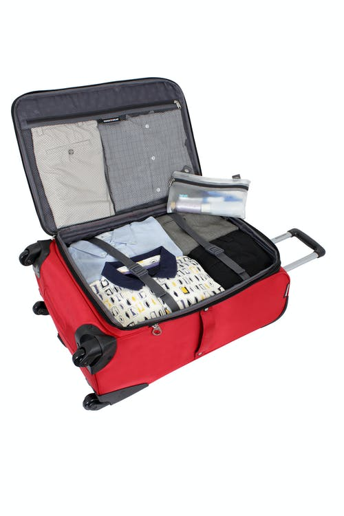 "SWISSGEAR 7378 24"" EXPANDABLE SPINNER LUGGAGE EXPANDABLE MAIN COMPARTMENT WITH ADJUSTABLE CLOTHING TIE-DOWN STRAPS"