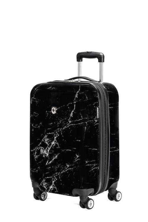 "Swissgear 7579 20"" Marble Expandable Carry On Hardside Spinner Luggage - Black"