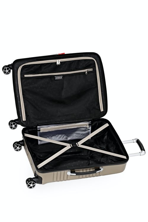 """Swissgear 7788 Expandable Hardside 24"""" Spinner Luggage Elastic tie-down clothing straps"""