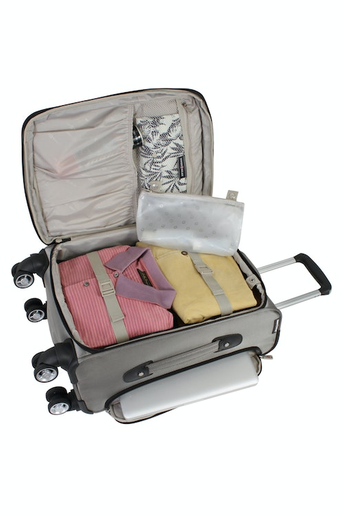 """SWISSGEAR 7895 19.5"""" EXPANDABLE DELUXE CARRY-ON SPINNER ADJUSTABLE CLOTHING TIE-DOWN STRAPS"""