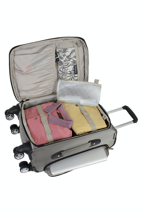 "SWISSGEAR 7895 19.5"" EXPANDABLE DELUXE CARRY-ON SPINNER ADJUSTABLE CLOTHING TIE-DOWN STRAPS"