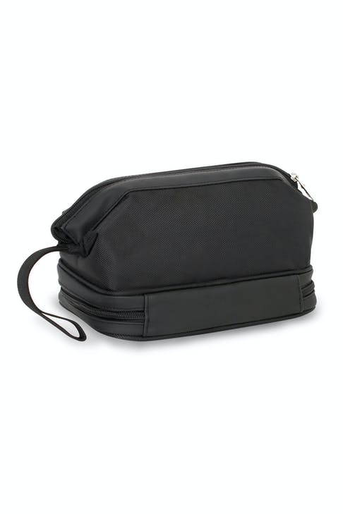 SWISSGEAR 8756 DELUXE FRAMED TOILETRY KIT WITH A ZIPPERED BOTTOM COMPARTMENT