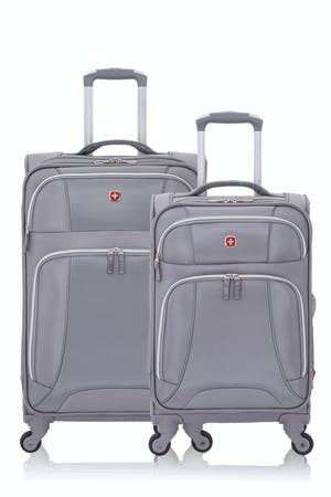 SWISSGEAR 7676 Expandable Liteweight Spinner Luggage 2pc Set - Charcoal/Silver